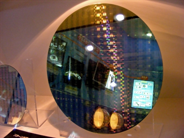 Silicon wafer from Toshiba Science Museum: https://www.flickr.com/photos/st-stev/2285113200